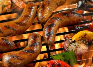 Grilled_Sausage_with_Marinated_Shrimp_Peppers_and_Onions_Skewer